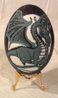 """The Dragon's Egg"" - An Emu egg carved by Andrea Vigneault"