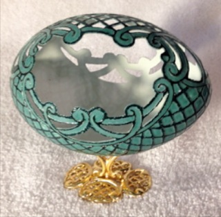 """Emerald Treasure"" - An Emu egg carved by Katy Wilson"